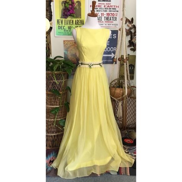 a28152f72cc Dresses | Vintage 70s Pastel Yellow Chiffon Evening Gown | Poshmark